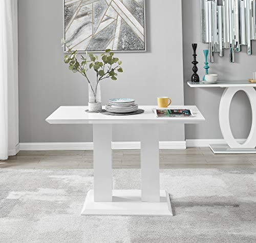 Imperia Modern White High Gloss Dining Table And 4 Stylish Contemporary Milan Dining Chairs Set (Dining Table Only)