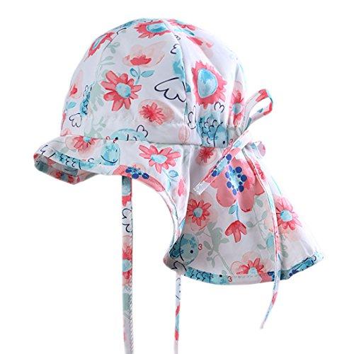 Boomly Baby Sonnenhut Sommer Quick Dry Schirmmütze mit Nackenschutz Outdoor Reise UV Schutzkappe Sommermütze mit Kinnriemen - 47