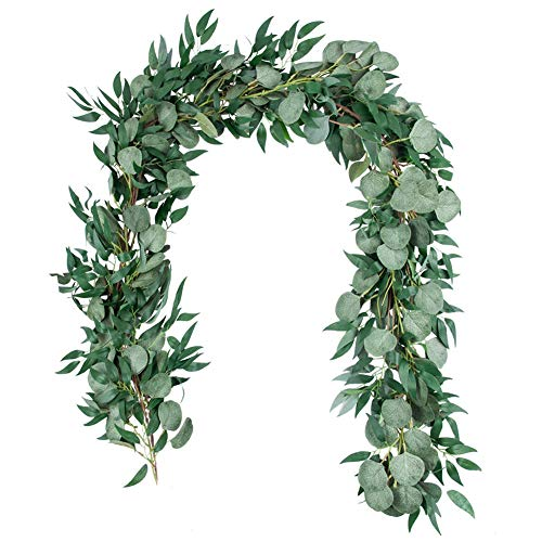 SpirWoRchlan Greenery Garland 6.5Ft Artificial Eucalyptus Garland and Willow Leaves Garland Table Runner Vine Garland for Wedding Home Decor Green