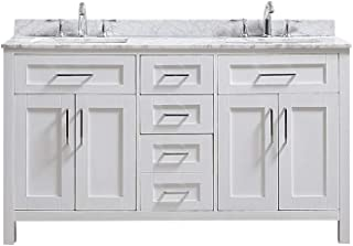 Ove Decors Tahoe 60W Marble Top Bathroom Double Sink Vanity, 60-Inch by 21-Inch, White