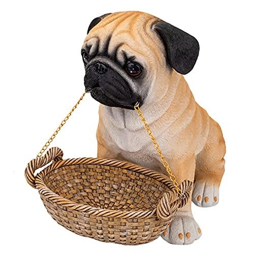 GUOJM Adornos de Caja de Almacenamiento de Escultura de Perro de Dibujos Animados, Lindo Adorno de Perro de Cachorro de Resina de Dibujos Animados Pretty Pug Labrador decoración Estatua estatuilla