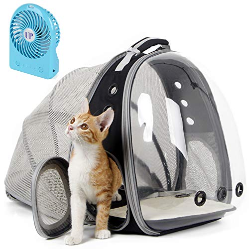 Back Expandable Cat Backpack, Space Capsule Transparent Pet Carrier for Small Dog, Pet Carrying Hiking Traveling Backpack