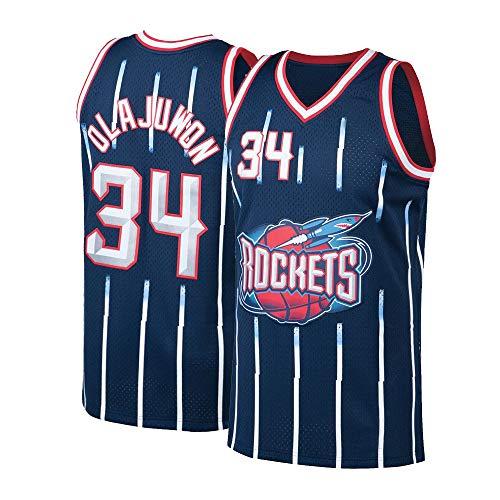Pdqgd Mens Olajuwon Jersey Basketball Adult Houston 34 Hakeem Blue (X-Large)