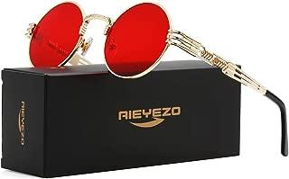 Round Steampunk Sunglasses John Lennon Hippie Glasses Metal Frame 100% UV Blocking Lens