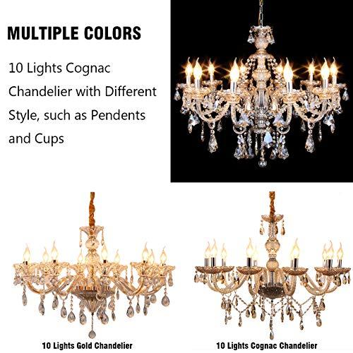 Samger Samger Luxuriöse 10 Arm Kronleuchter K9 Kristallglas Deckenleuchte Pendelleuchte Cognac Farbe für Wohnzimmer Schlafzimmer Flur Eintrag - 9