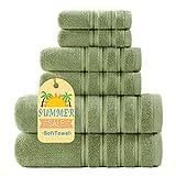 Sofi 2021 New 700 GSM Premium Bathroom Towels Sets Clearance Turkish Plush Bath Towel Set 6 Piece Sage Green