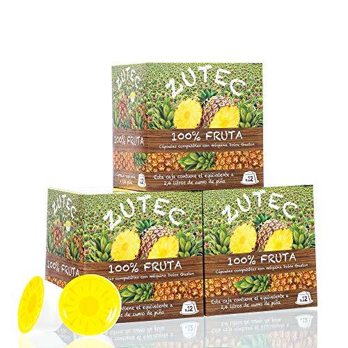Zutec - Cápsulas de Zumo de Piña - Compatibles con cafeteras Nescafé Dolce Gusto®* - 3 Estuches de 12 cápsulas - 36 cápsulas