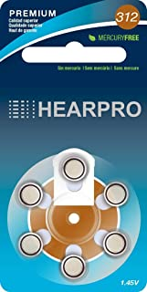 HEARPRO Size 312 Long-Lasting Hearing Aid Batteries 60 Pack - Mercury-Free - Zinc Air Technology - Made in USA - Plus Keychain Battery Case