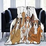 QIUTIANXIU Mantas para Sofás de Franela 150x200cm Mascota Perros Graciosos Animales Perrito Vida Salvaje Adorable Agilidad...