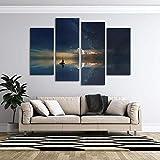 KOPASD 4 Paneles Pintura de la Lona Mural Vela de la Vía Láctea Arte Fotos Paisaje Imprimir Decoración Moderna del Ministerio del Interior Sin Marco 160 * 100cm