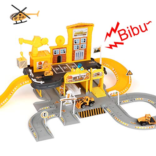 Construction Toys Race Tracks Set Parking Garage STEM Learning with 3PCS Engineering Trucks Cars 1PC Helicopter Light &Sounds Gift for Age 3 4 5 6 7 8 Years Old Kids Toddler Boys Girls