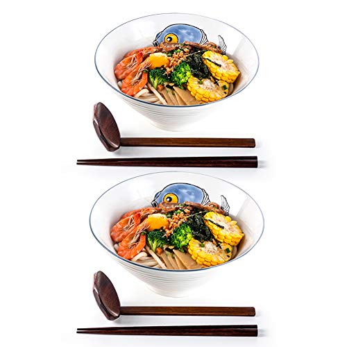 Ramen Bowls, 2 Sets (6 Piece) 60 Ounce, Japanese Ceramic Serving Soup Bowl with Matching Spoon and Chopsticks for Salad, Udon, Soba, Pho, Asian Noodles, Pufferfish Pattern
