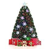 Costway Sapin de Noël Arbre de Noël Artificiel avec Flocon de Neige Lumières LED et Pied Matériau PVC pour Décoration de Noël 90/120/150/180cm Vert(90CM)