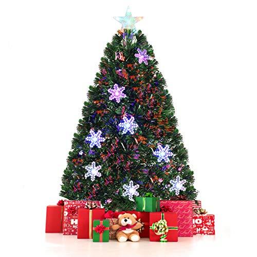 Costway Sapin de Noël Arbre de Noël Artificiel avec Flocon de Neige Lumières LED et Pied Matériau PVC pour Décoration de Noël 90/120/150/180cm Vert(120CM)