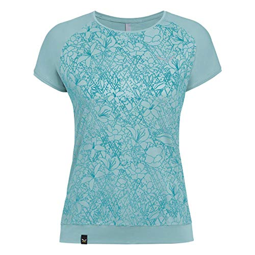 Salewa PEDROC Print Dry W S/S Tee Femme, Canal Blue Flower, FR : 3XL (Taille Fabricant : 46/40)