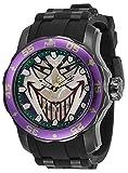 Invicta DC Comics Joker Reloj de cuarzo con silicona, correa de acero inoxidable, negro, 26 (Modelo: 35608)