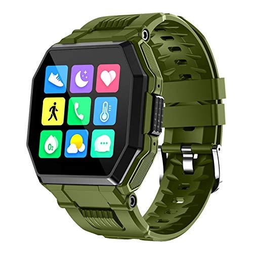 xiaoxioaguo Bluetooth llamada reloj inteligente de los hombres táctil completo control de la música reloj deportes fitness reloj de los hombres verde