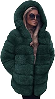 9de0b725389 FNKDOR Women Fashion Luxury Fluffy Shaggy Long Sleeve Faux Fur Hooded Coat  Jacket with Pockets Autumn