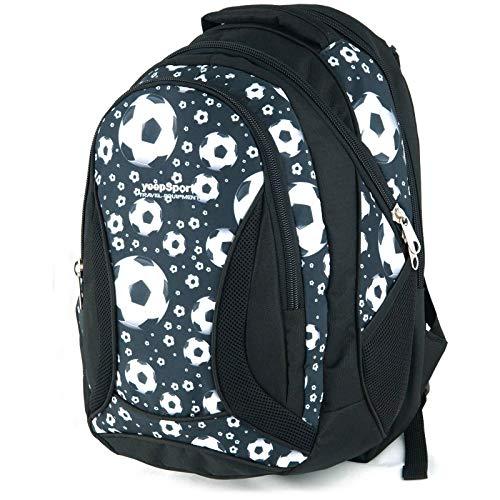 YeepSport Schul Rucksack Ranzen Mädchen Junge Sport Tasche 40 Liter groß leicht stabil 30085 Soccer Black