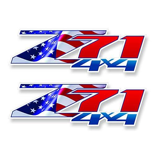 GOLD HOOK Decals Z71 Chevy GMC Flag Silverado | Patriotic | Bedside Bed Panel | Truck Sticker
