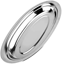 TOPBATHY Stainless Steel Plates Oval Metal Dish Dinner Plate Dish Steaming Food Plate Fish Snack Desserts Service Tray for...