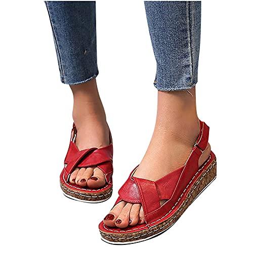 JHLIA Sandalias de Playa para Mujer, 2021 Sandalias de Tacón Cómodas con Punta Abierta,Antideslizantes Zapatos de Viaje Verano Playa con Ajustable al Tobillo Talla