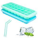 Segorts Ice Cube Trays with Lids, 36 Ice Cube Molds BPA Free, Food Grad Sesilicone Material for Whiskey, Cocktail, Stackable Flexible Safe Ice Cube Molds with Drinking Straw Blue + Green (Cube)