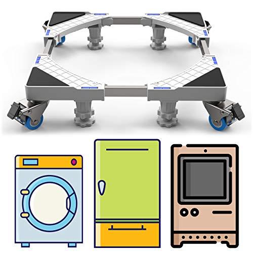 DEWEL Einstellbar Wachmaschinen-Untergestell, 44-69cm Waschmaschinen Untergestell Maschinen Sockel für Kühlschrank Trockner Waschmaschine, 4 Füße und 4 Räder