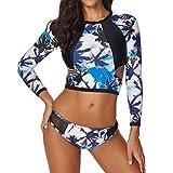 MORETIME Conjunto de manga larga para mujer Floral Protección UV Traje de baño de camiseta Adecuado para buceo Natación Surf Surf Protector solar