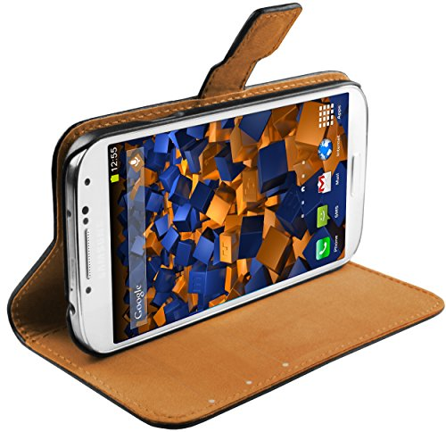mumbi Echt Leder Bookstyle Hülle kompatibel mit Samsung Galaxy S4 Hülle Leder Tasche Hülle Wallet, schwarz