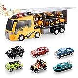 Transportador Juguete para Niños, Camión almacena 12 vehículos, Coche de Juguete 3 Años 10 Años Niños Niñas, Juegos de Construcción Camión Transportador, Educación Regalos