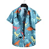 T-Shirt Hombre Manga Corta con Estampado Moda Verano Hombre Shirt Transpirable Botones Básicos Hombre Shirt Ocio Personalidad Moderna Hawaii Hombre Shirt Playa A-Blue XL