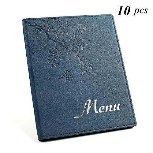 A4 Menu Covers/Kookboeken Inbegrepen 6 Poly Pockets, Gratis Printing menu met Logo 1 Pack 25 menu's, Gift 6 Printing Papier, Gratis Verzending A4(210-297MM) Saffier Blauw