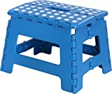 Foldable Step Stool for Kids - 11 Inches Wide and 9 Inches Tall - Blue and White - Holds Up to 300 lbs - Lightweight Plastic Design