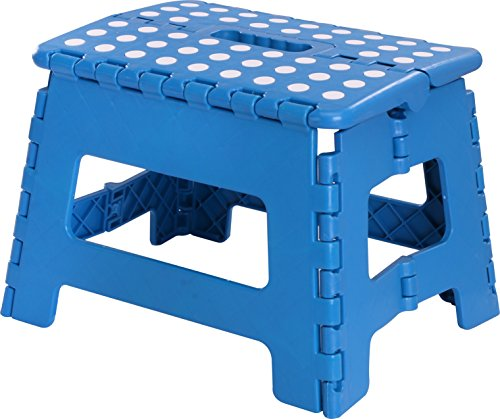 Utopia Home Foldable Step Stool for Kids - 11 Inches Wide and 8 Inches Tall - Holds Up to 300 lbs - Lightweight Plastic Design (Blue, Pack of 1)