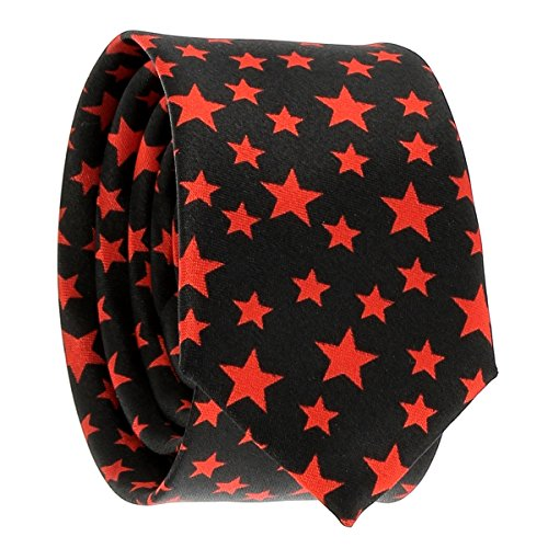 Cravate Etoile Noire et Rouge - Cravate Fantaisie Originale