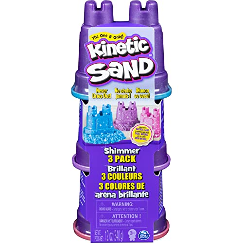 Kinetic Sand Schimmer Sand 3er Pack 340 g - 3 Farben Glitzersand für Indoor Sandspiel