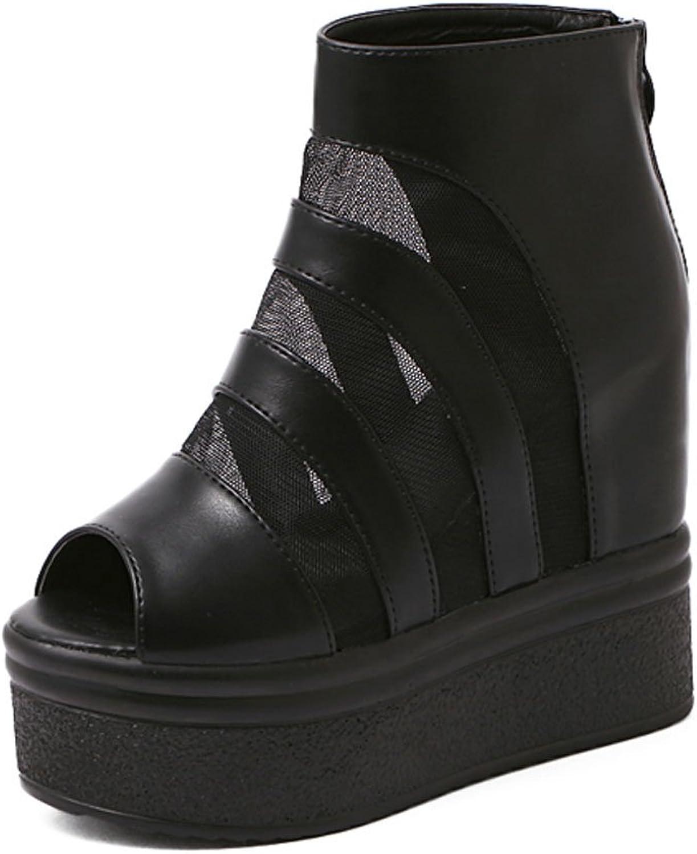 Ladola Womens Platform Peep-Toe Zipper Wedges Urethane Pumps shoes