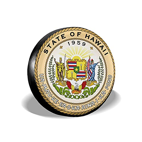 QQIAEJIA Seal of Hawaii Cubierta de neumático a Prueba de Polvo e Impermeable Cubierta de neumático portátil a Prueba de Sol para camionetas SUV Protectores de Ruedas