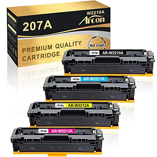 Arcon Kompatibel Toner Cartridge Replacement für HP 207A 207X HP W2210A W2210X W2211A W2212A W2213A (Kein Chip) für HP Color Laserjet Pro M283fdw M255dw M282nw M283fdn MFP M283fdw M283 M255