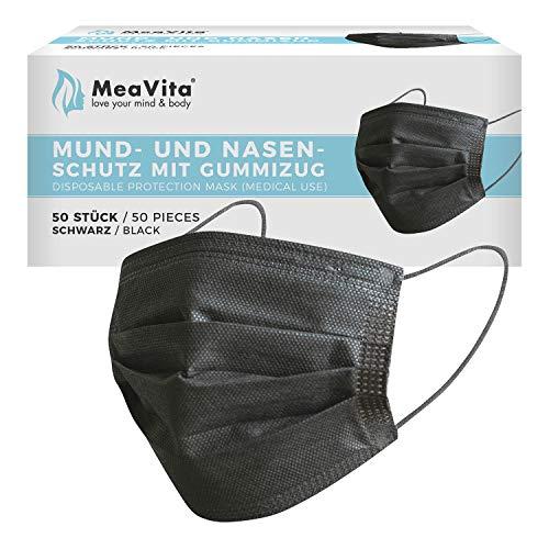 MeaVita medizinischer Einweg Mund- und Nasenschutz, schwarz im 50er Pack, Typ IIR, 3-lagig, CE zertifiziert, Einweg Maske, Gummizug
