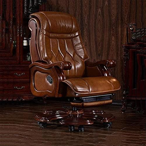 RedwineLeichte Ergonomischer Stuhl Boss Stuhl, elektrische Massage-Leder-Chefsessel Reclining Bürostuhl Drehstuhl Moderne minimalistische Haus Lehnstuhl Managerial Stühle 360