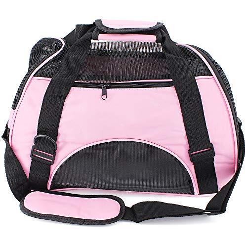 MoYouno Durevole trasportino per Animali Domestici per Cani di Piccola Taglia, Gatto, Coniglio, Gabbia di Trasporto Portatile in Tessuto a Rete, Morbido e Traspirante (Pink)