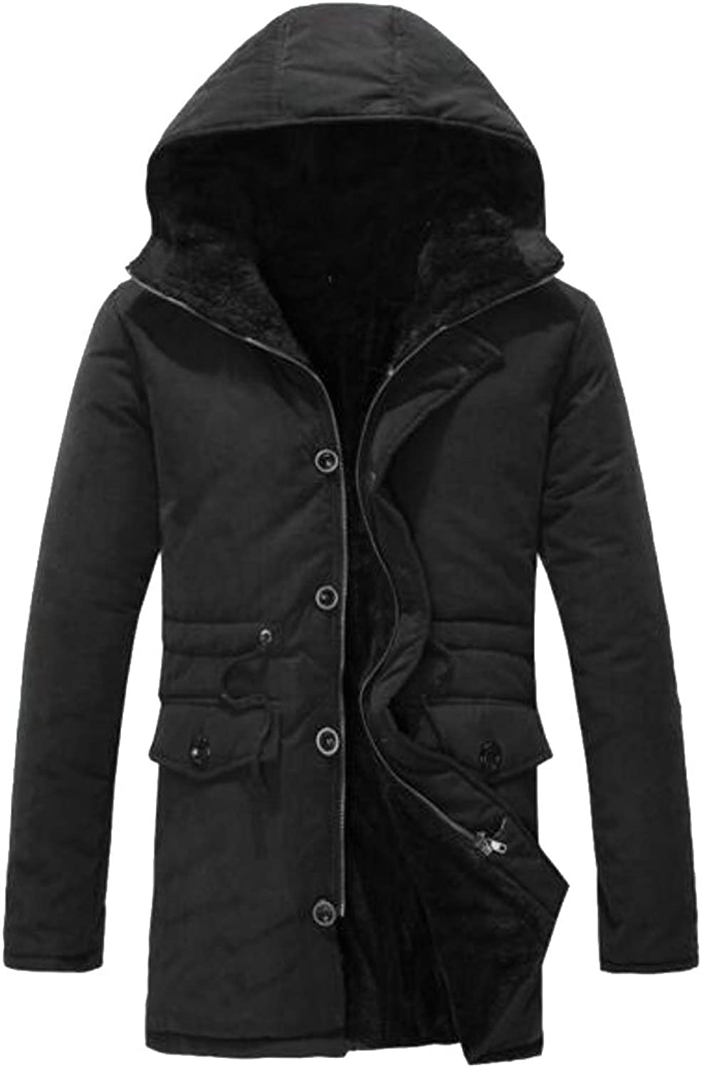 ARRIVE GUIDE Mens Fleece Lined Hooded Loose Fit Warm Thick Jacket Parka Overcoat