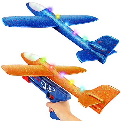 2 Pack Flying Airplane Toys with La…