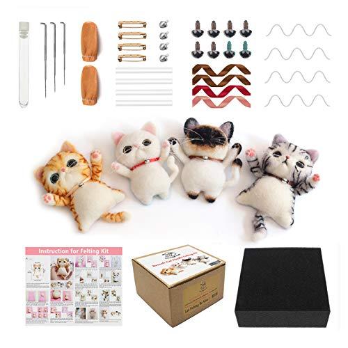 Kit de fieltro de aguja de gato con broche de decoración con video tutorial para principiantes caja de regalo paquete de regalo de Navidad (4 unidades)