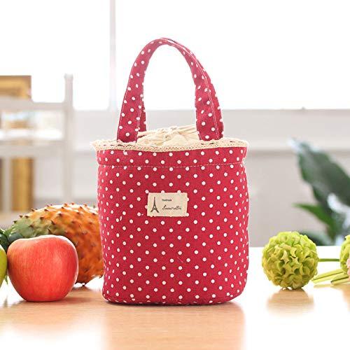 GRMMU-Exclusieve Geïsoleerde Lunch Bag Tote Bag Voor Vrouwen, Rood Thermische Geïsoleerde Lunch Box Canvas Leuke Patroon Handige En Duurzame Koeltas Outdoor Picknick Tote Bento Pouch Container