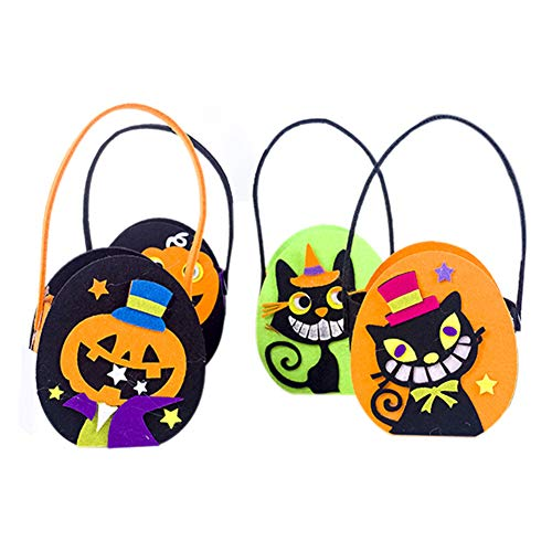 QCUTEP 4PCS Halloween Tote Bag, Trick-or-Treat Bags, Felt Candy Bags with Handles Gift Bags for Halloween Snacks, Candy Pails, Party Decorations Favors