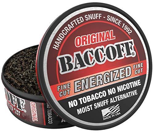 BaccOff, Original Energized Fine Cut, Premium Tobacco Free, Nicotine Free Snuff Alternative (1 Can)