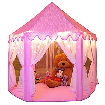 Monobeach Princess Tent Girls Large Playhouse Kids Castle Play Tent with Star Lights Toy for Children Indoor and Outdoor Games 55   x 53    DxH